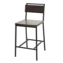 Olympia Metal Counter Stool with Black Cherry Wooden Seat and Matte Black Finished Frame, 26-Inch