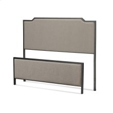 Bayview Metal Headboard and Footboard Bed Panels with Gray Sand Upholstery, Black Pearl Finish, Full