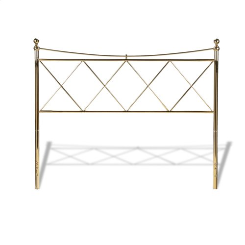Lennox Metal Headboard Panel with Diamond Pattern Design and Downward Sloping Top Rail, Classic Brass Finish, Full