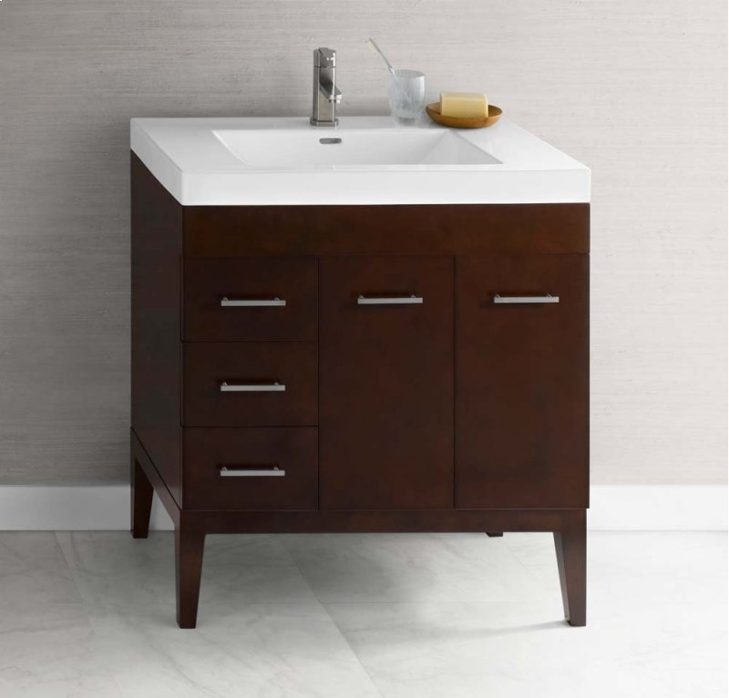 Venus 31 Bathroom Vanity Base Cabinet In Dark Cherry Doors On Right Wood