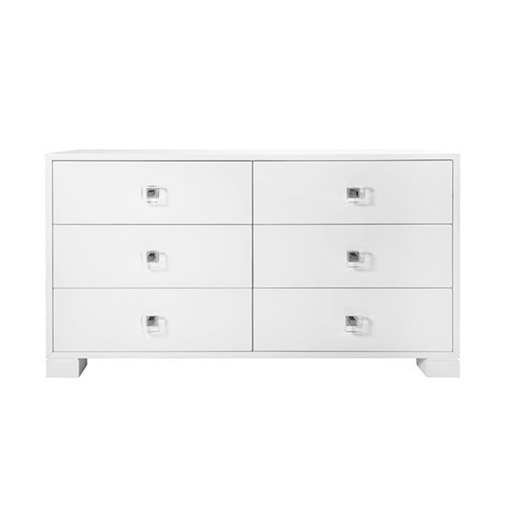 Six Drawer Dresser With Nickel and Acrylic Hardware In White Lacquer
