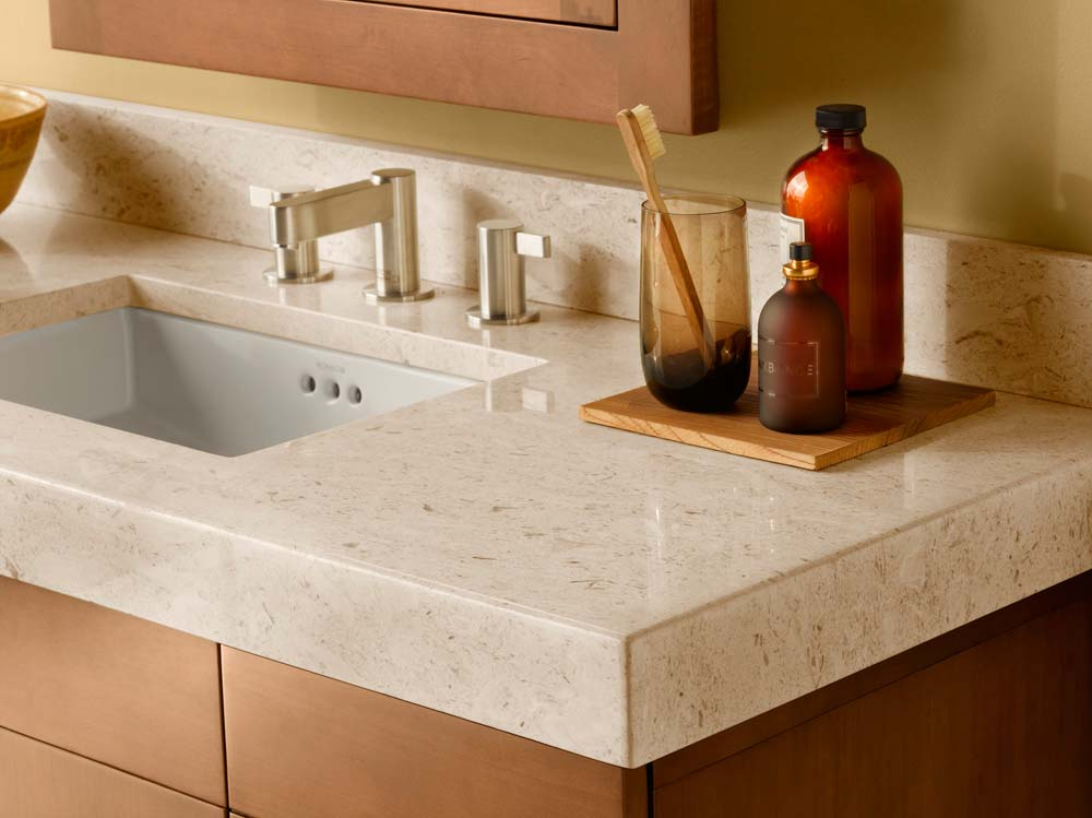 "WideAppeal™ 48"" x 19"" Marble Vanity Top in Cream Beige - 2 3/4"" Thick"
