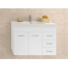 "Bella 36"" Wall Mount Bathroom Vanity Base Cabinet in White - Doors on Left"