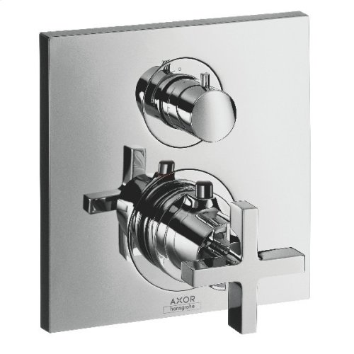 Chrome Thermostat for concealed installation with shut-off/ diverter valve and cross handle