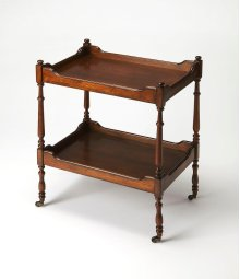 This traditional serving cart will stylishly enhance your space in use as a drink cart or a nightstand. Featuring a rich Antique Cherry finish and four antique brass casters for easy mobility, it is hand crafted from rubberwood solids and wood products wi