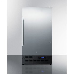 "Summit18"" Wide Built-in Undercounter All-refrigerator With A Stainless Steel Exterior, Digital Thermostat and Front Lock"