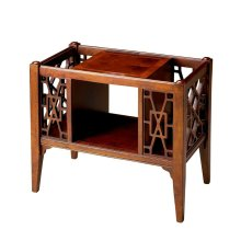 This Chinese Chippendale-inspired magazine basket combines abundant function with stunning good looks. Handcrafted from select wood solids and wood products, it boasts magazine/book storage slots on either end and a center storage cubbie for an array of h