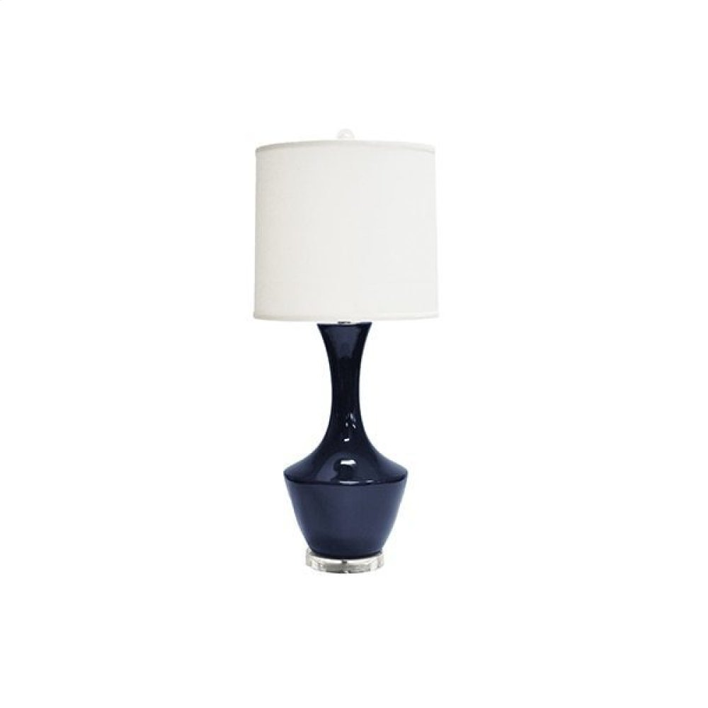 Ceramic Table Lamp With White Linen Shade In Navy -ul Approved for (1) 60 Watt Bulb- 3 Way Compatible