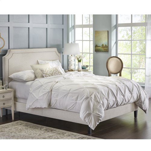 Messina Complete Upholstered Bed in a Box and Bedding Support System with Piping Accented Headboard, Soft Ivory Finish, Queen