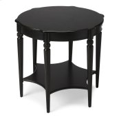 This elegant table blends classic Old World styling with today's casual sophistication. Crafted from hardwood solids, wood products and birch veneer, it boasts an ample round top with a distinctive lower display shelf in the shape of a six-pointed star jo