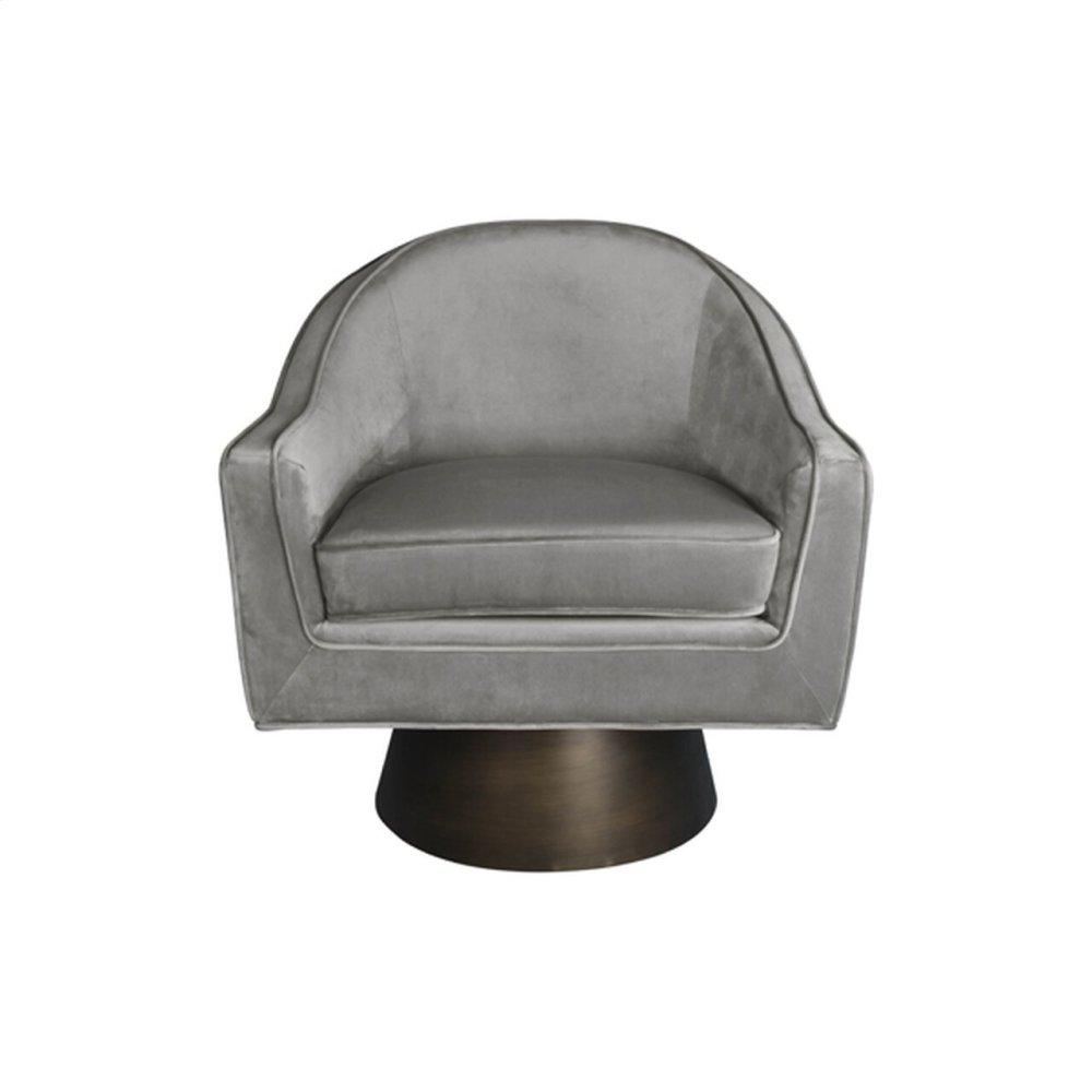 Modern Swivel Chair With Bronze Base In Grey Velvet