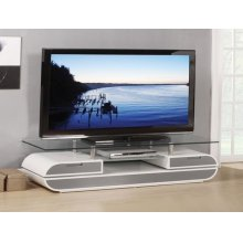 WH/GRAY TV STAND W/GLASS TOP