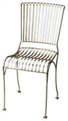 The zinc finish on this side chair is sleek and modern. Its sculptured, slatted frame is made from cast iron for a comfortable seat that can be added to any space. Product Image