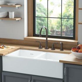 Delancey 36 x 22 Double Bowl Apron Front Cast Iron Kitchen Sink  American Standard - Brilliant White