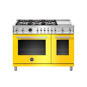Bertazzoni48 inch Dual Fuel Range, 6 Brass Burners and Griddle , Electric Self Clean Oven Giallo
