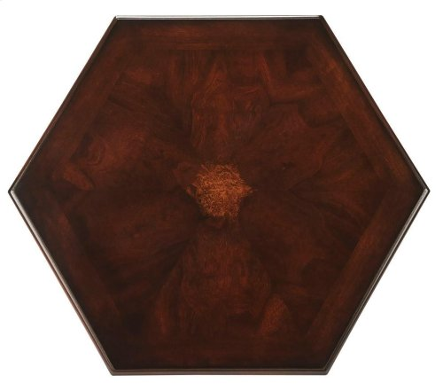 Selected solid woods and choice cherry veneers. Hexagonal shaped top with intricate matched cherry veneers, ash burl veneer center inlay and cherry veneer end grain border.