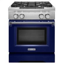 30'' 4-Burner Dual Fuel Freestanding Range, Commercial-Style Cobalt Blue