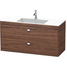 Furniture Washbasin C-bonded With Vanity Wall-mounted, Walnut Dark Decor