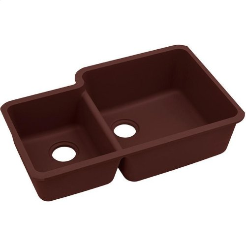 "Elkay Quartz Classic 33"" x 20-11/16"" x 9"", Offset 40/60 Double Bowl Undermount Sink, Pecan"