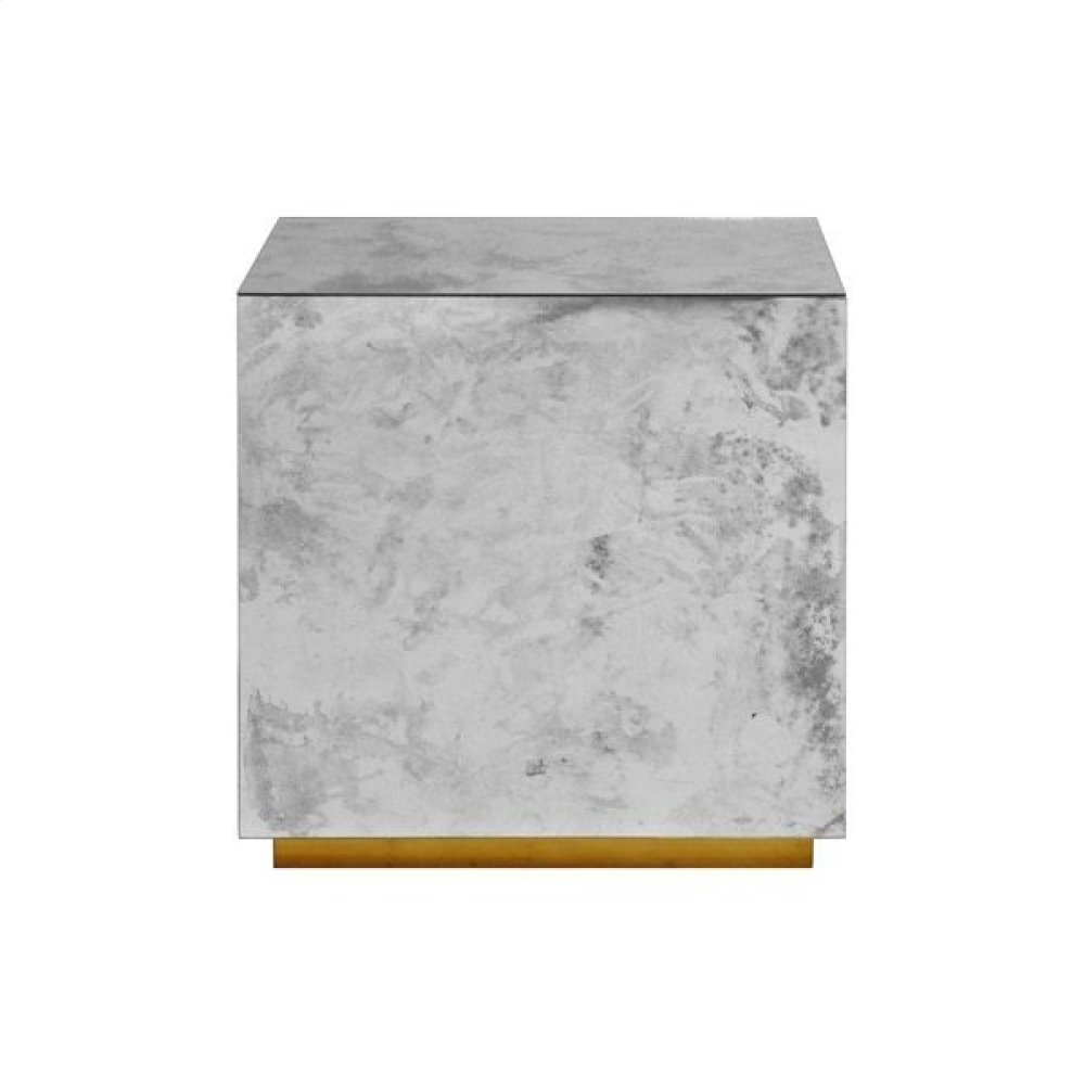 Antique Mirror Side Table With Gold Leaf Base