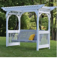 Vinyl Swing Arbor - with concrete anchors