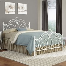 Rhapsody Bed with Curved Grill Design and Finial Posts, Glossy White Finish, Queen