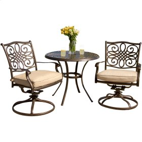 Traditions 3 Pc. Bistro Set With Two Alumicast Swivel Rockers and a 32 in. Round Table