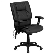 Mid-Back Massaging Black Leather Executive Swivel Chair with Adjustable Arms