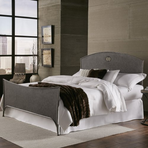 Barrington Complete Bed with Metal Panels and Industrial Circular Design, Silver Bisque Finish, King