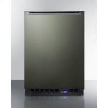 Frost-free Built-in Undercounter All-freezer for Residential Use, With Icemaker, Black Stainless Steel Door, Horizontal Handle, and Black Cabinet