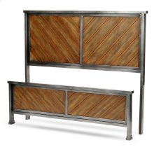 Braden Metal Headboard and Footboard Bed Panels with Rustic Reclaimed Faux Wood in Diagonal Pattern Frame, Rustic Tobacco Finish, King