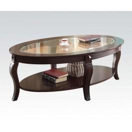 Oval Coffee Table W/gl Top @n Hidden