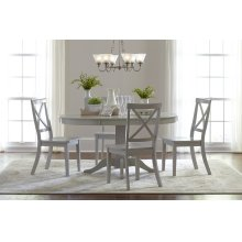 Everyday Classics Round To Oval Dining Table With 4 Ladder Back Chairs- Dove