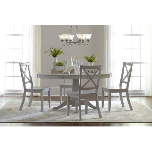 Everyday Classics Round To Oval Dining Table With 4 X Back Chairs- Dove