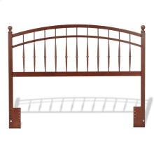 Bailey Wooden Headboard Panel with Intricate Spindles and Round Post Finials, Oak Finish, Full / Queen