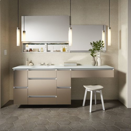 "Cartesian 36-1/8"" X 7-1/2"" X 18-3/4"" Slim Drawer Vanity In Satin White With Slow-close Full Drawer and Night Light In 5000k Temperature (cool Light)"