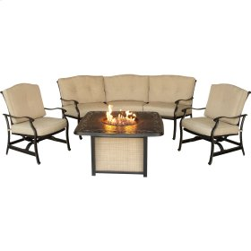 Traditions 4-Piece Outdoor Lounge Set with Cast-Top Fire Pit