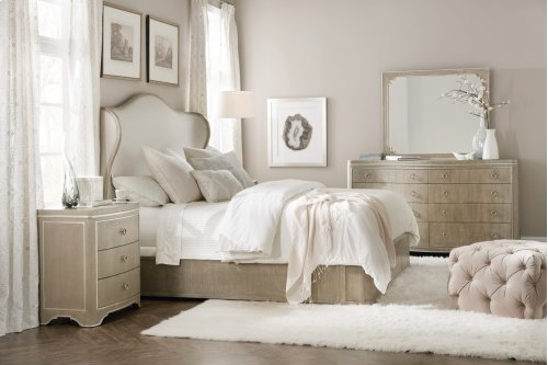 Bedroom Modern Romance King Upholstered Shelter Bed