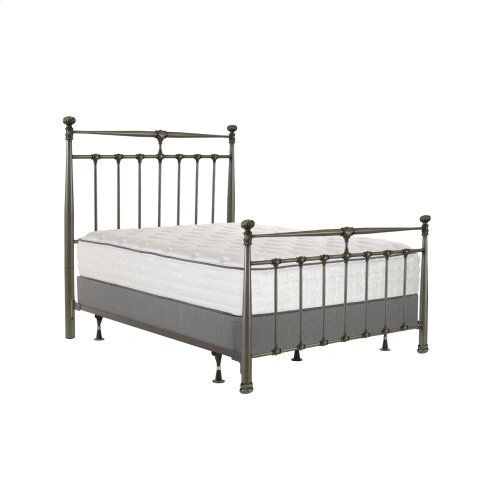 Kensington Complete Metal Bed and Steel Support Frame with Stately Posts and Detailed Castings, Vintage Silver Finish, Full