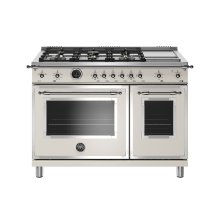 48 inch Dual Fuel Range, 6 Brass Burners and Griddle, Electric Self Clean Oven Avorio