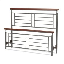 Fontane Metal Headboard and Footboard Bed Panels with Geometric Grills and Rounded Cherry Wood Color Top Rails, Silver Finish, King