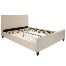 Queen Size Tufted Upholstered Platform Bed in Beige Fabric