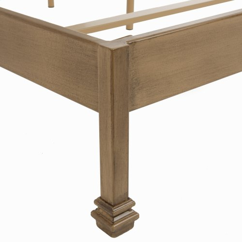 Calvados Complete Metal Bed and Bedding Support System with Sand Colored Upholstered Headboard, Natural Oak Finish, Queen