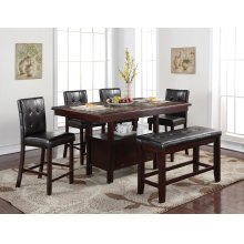 Eliza Rectangular Faux Marble Inlay Pub Table with Storage