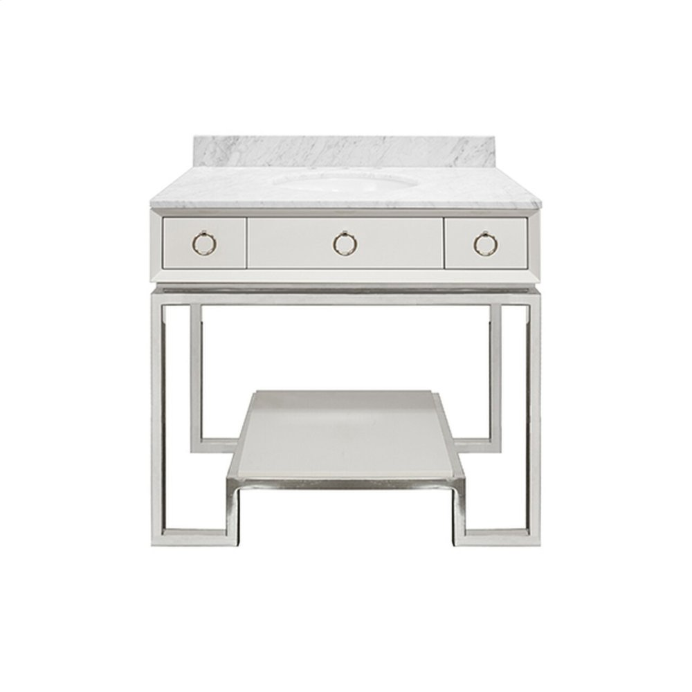 White Lacquer Bath Vanity Paired With Nickel Base & Hardware