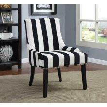 Transitional Navy and White Accent Chair