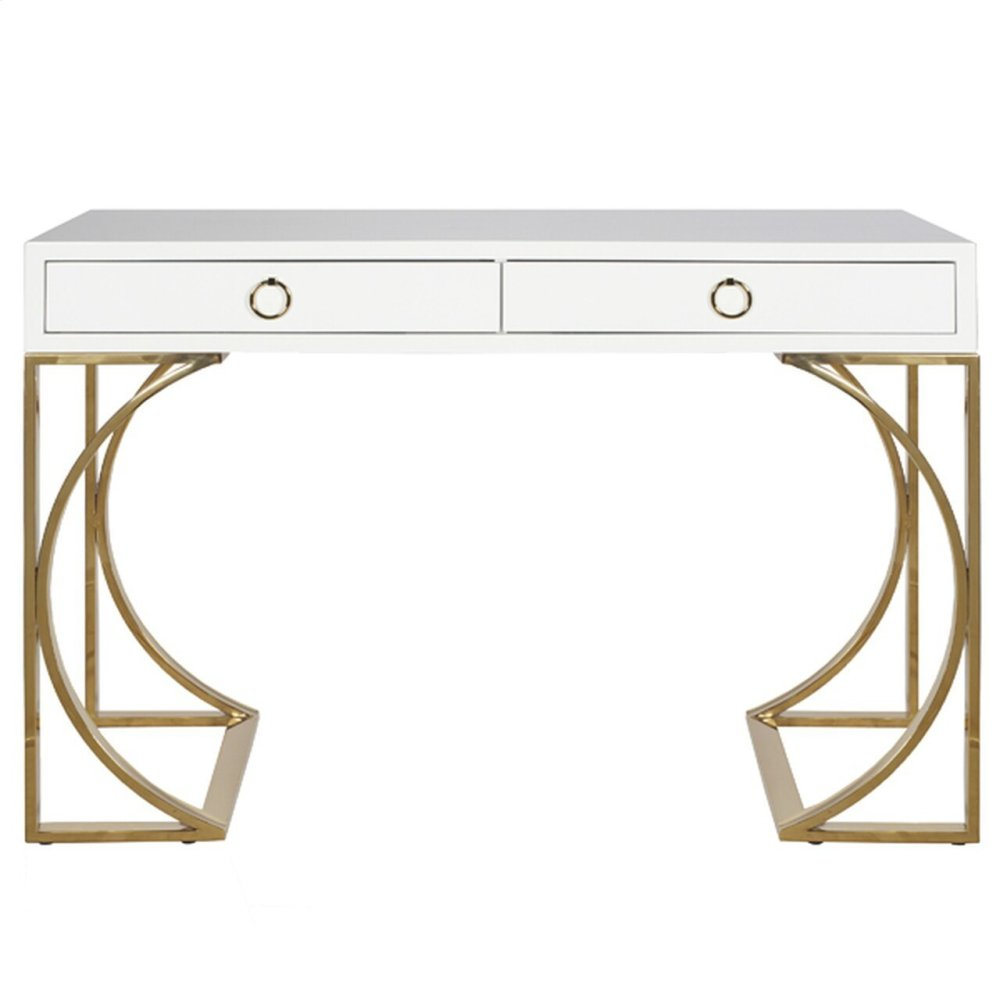 White Lacquer Two Drawer Desk With Brass Base & Hardware.