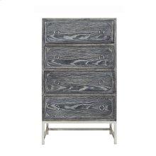Upright 4 Drawer Dresser In Black Cerused Oak With Nickel Hardware and Base.