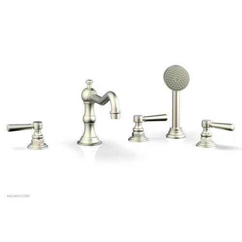HENRI Deck Tub Set with Hand Shower with Lever Handles 161-49 - Satin Nickel