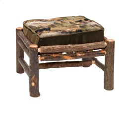 Hickory Log Frame Ottoman - Lounge Chair - Upgrade Fabric - Includes Fabric and Cushion